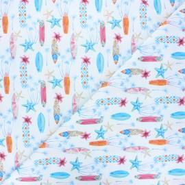 Cretonne cotton fabric - white Surf afternoon x 10 cm