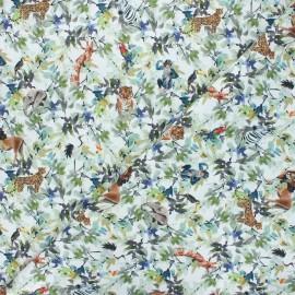 Cretonne cotton fabric - green Jungle life x 10 cm