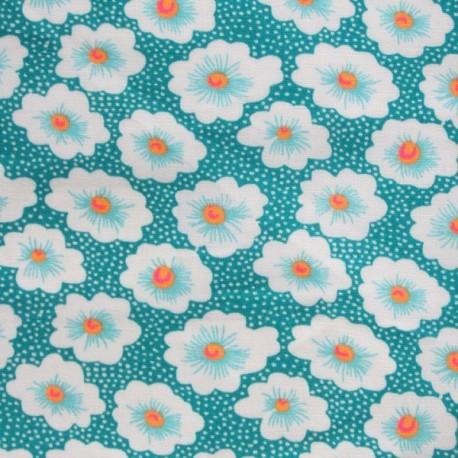 Fabric enduit coton Osami turquoise x 10cm