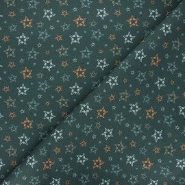 Cretonne cotton fabric - dark khaki Musical stars x 10 cm