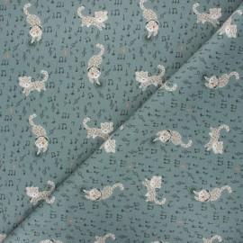 Tissu coton cretonne Disco leo - kaki x 10cm