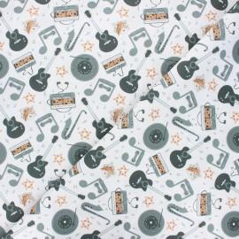 Tissu coton cretonne Retro vibes - blanc x 10cm