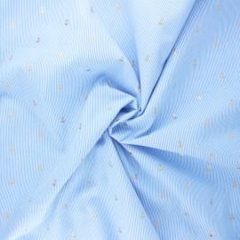 Poplin cotton fabric - light blue Gold sailor x 10cm