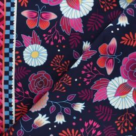 Organic french terry sweatshirt fabric - midnight blue Gardener's delight Sweet home x 10 cm