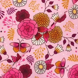 Organic french terry sweatshirt fabric - pink Gardener's delight Sweet home x 10 cm