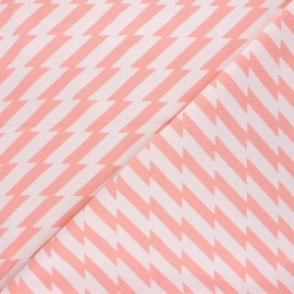 Tissu maille jacquard Sweet home Good vibes - rose x 10 cm