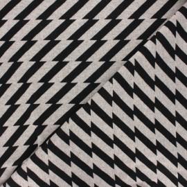 Tissu maille jacquard Sweet home Good vibes - noir x 10 cm