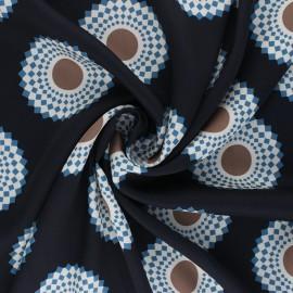 Tissu polyester satiné Mandala - bleu nuit x 10cm