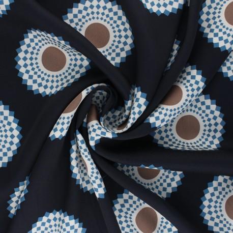 Polyester satin fabric - midnight blue Mandala x 10cm
