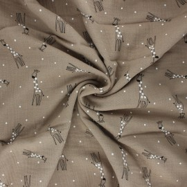 Double gauze fabric - taupe Happy giraffe x 10cm