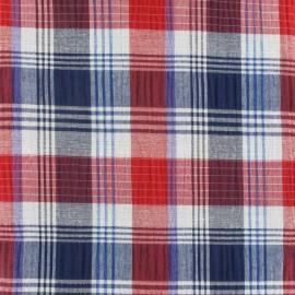 Tissu carreaux Fliser rouge x 10cm