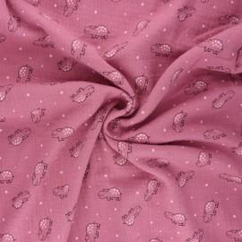 Tissu double gaze de coton Little hippo - bois de rose x 10cm