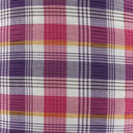 Tissu carreaux Fliser prune x 10cm