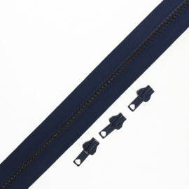 Zip by the meter with 3 sliders - navy blue Classic