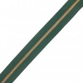 Fermeture Eclair® au mètre laiton - vert