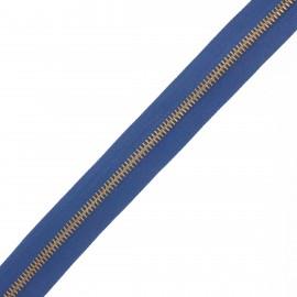 Fermeture Eclair® au mètre laiton - bleu