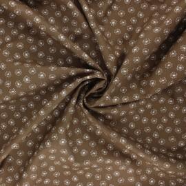Poplin cotton fabric - brown Tarassaco x 10cm