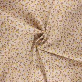 Poplin cotton fabric - beige Birdy x 10cm