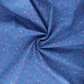 Tissu popeline de coton Birdy - bleu x 10cm