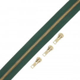 Brass zip by the meter with 3 sliders - green