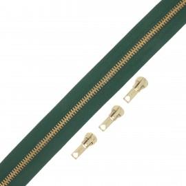 Fermeture Eclair® au mètre laiton (3 curseurs) - vert