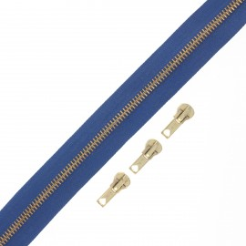 Brass zip by the meter with 3 sliders - blue