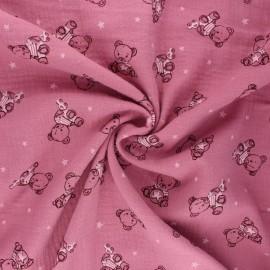 Tissu double gaze de coton Teddy bear - bois de rose x 10cm