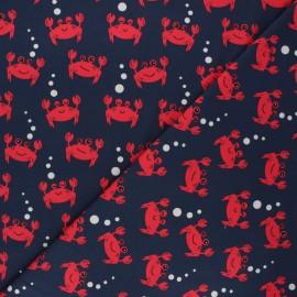 Jersey fabric - night blue Little crab x 10cm