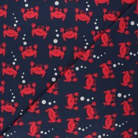 Tissu jersey Little crab - bleu nuit x 10cm