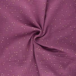 Tissu double gaze de coton pois doré - figuette x 10cm
