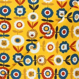Jersey fabric - mustard yellow Lion flower x 10cm