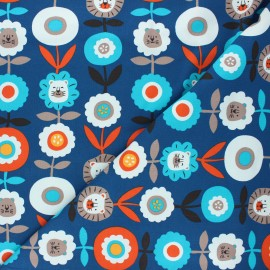 Tissu jersey Lion flower - bleu marine x 10cm