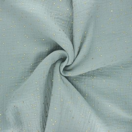 Double cotton gauze fabric - grey green Golden Dots x 10cm