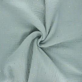 Tissu double gaze de coton pois doré - vert de gris x 10cm