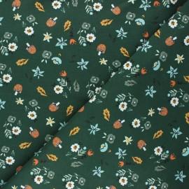 French terry fabric - dark green Mushroom hunt x 10cm