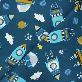 Cretonne cotton fabric - peacock blue Cosmic x 10cm