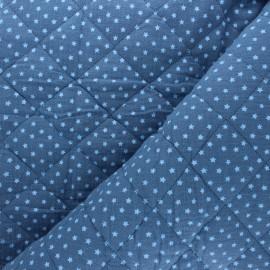 Tissu double gaze matelassé réversible Into the stars - bleu houle x 10cm