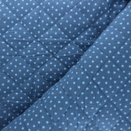 Quilted double gauze cotton fabric - swell blue Into the stars x 10cm