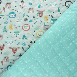 Quilted cotton fabric - mint Atria/ Powkatan x 10cm