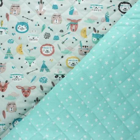 Quilted cotton fabric - mint Atria/ Powkatan x 10cm