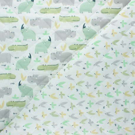 Quilted cotton fabric - raw Rhino/ Pousse x 10cm