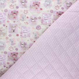 Quilted cotton fabric - greige Pets/ Ptitcoeur x 10cm