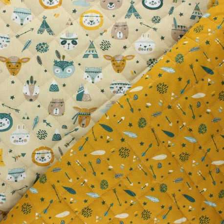 Quilted cotton fabric - mustard yellow Meeko/ Powhatan x 10cm