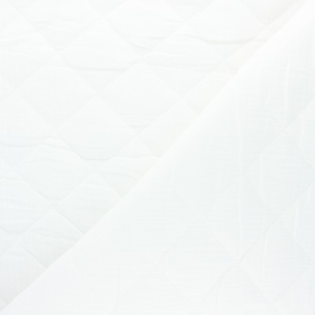 Plain quilted double gauze cotton fabric - white x 10cm
