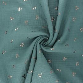 Tissu double gaze de coton Cerise dorée - eucalyptus x 10cm