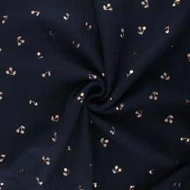 Tissu double gaze de coton Cerise dorée - bleu nuit x 10cm