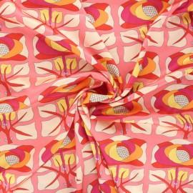 Tissu polyester satiné Psyché - corail x 10cm