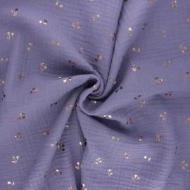 Tissu double gaze de coton Cerise dorée - lavande x 10cm