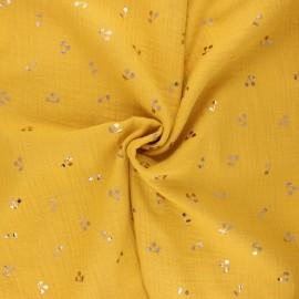 Tissu double gaze de coton Cerise dorée - jaune moutarde x 10cm