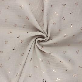 Tissu double gaze de coton Cerise dorée - grège x 10cm